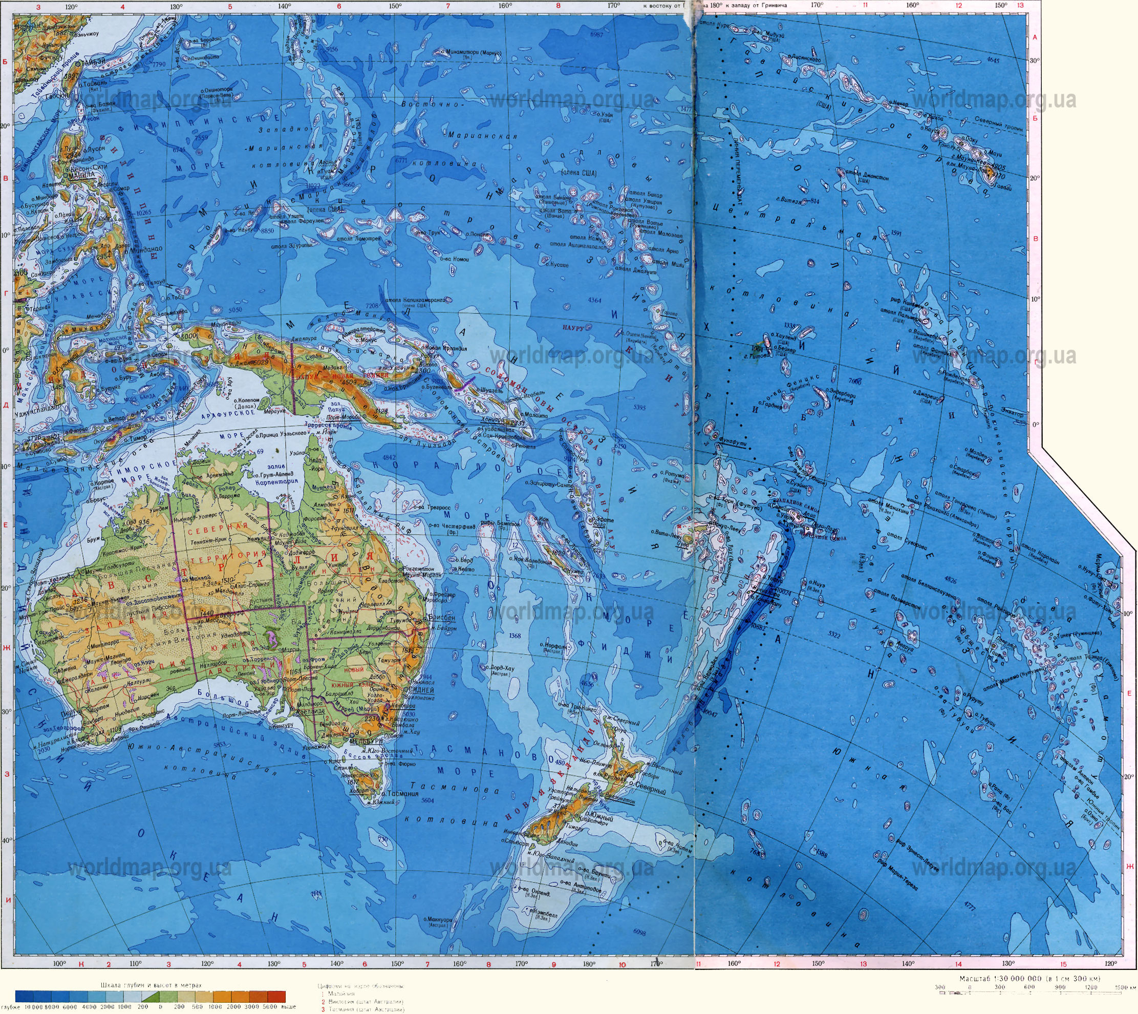 ���������� ����� ��������� � ������� / Physical Australia and Oceania Map / Գ����� ���� ������볿 �� ����?