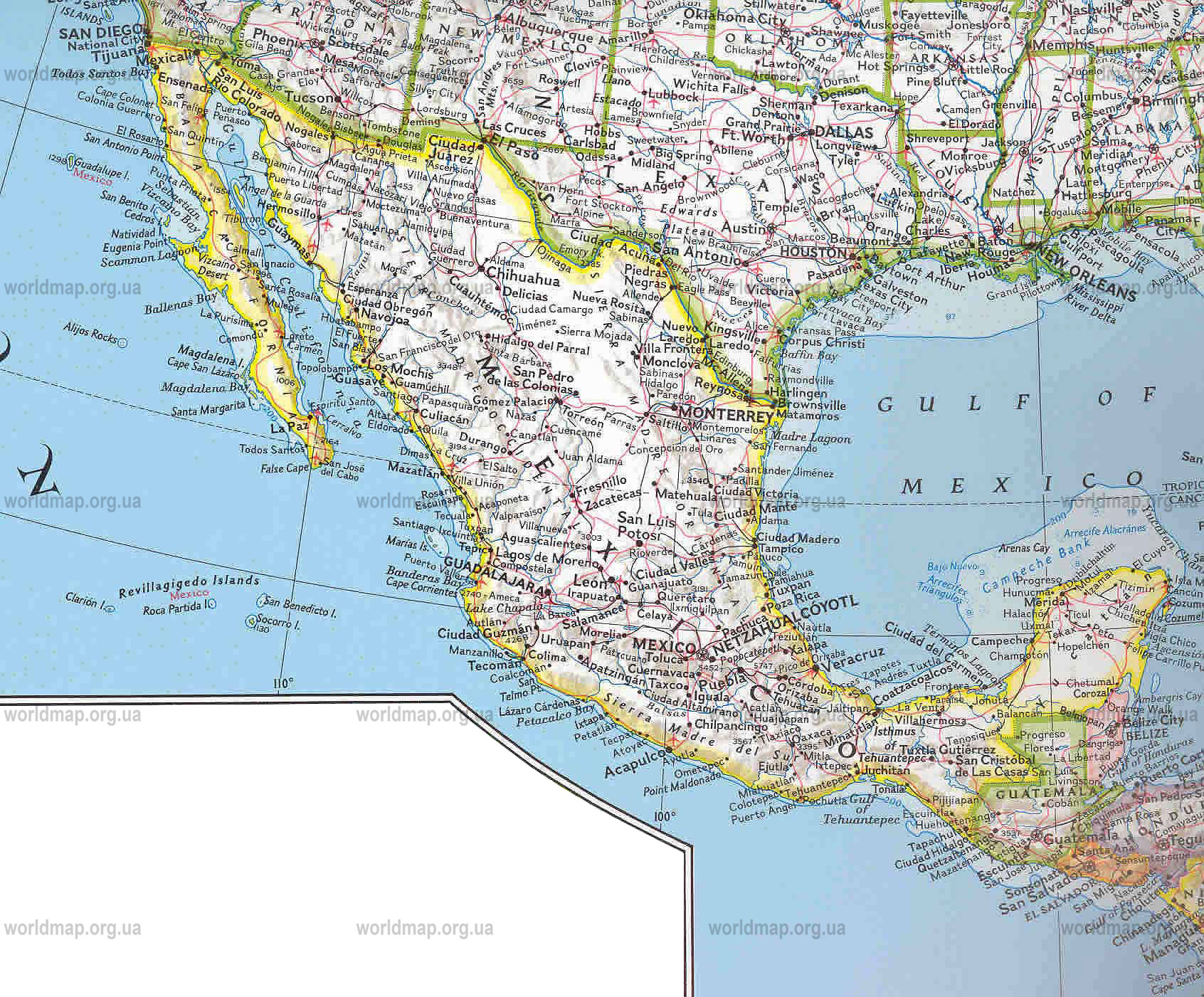 Mexiko Mexico Road Map Read Fiction NonFiction and – Map of Mexio